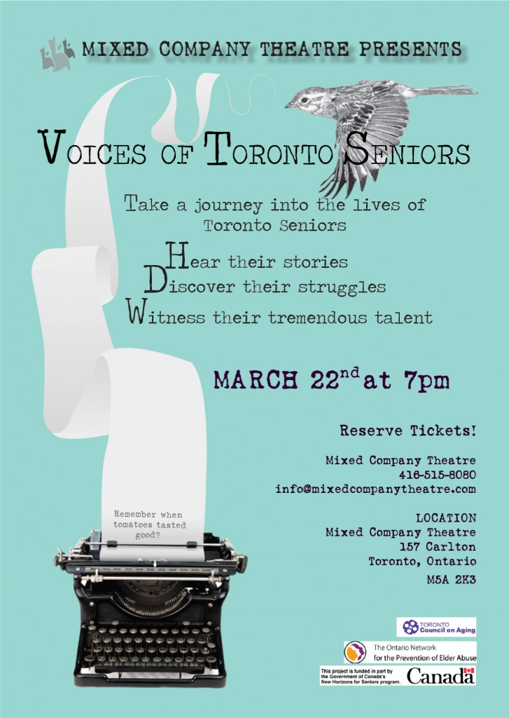 A promotional poster for the Voices of Toronto Seniors project, which includes performance details.