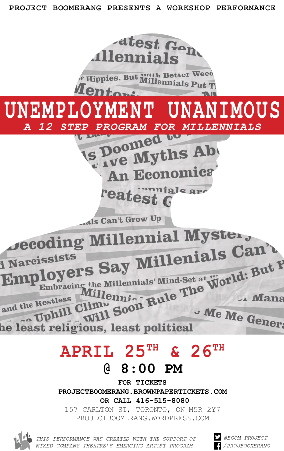 """A promotional poster for """"Unemployment Unanimous"""" which includes performance details."""
