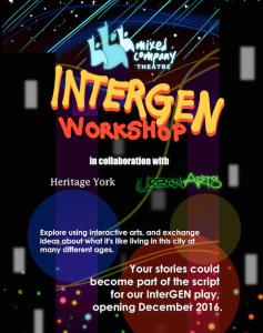 A promotional poster for an InterGen workshop.